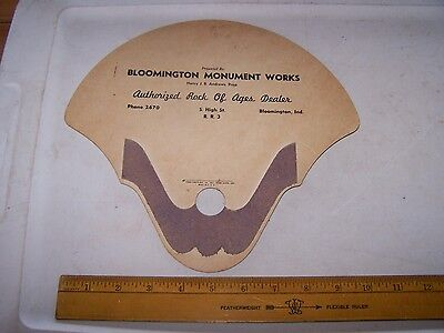 Vintage BLOOMINGTON MONUMENT WORKS Hand Held Fan - Indiana - Henry Andrews