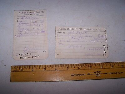 1883 JONES & ALLEN'SS Drug Store Receipts GREENCASTLE INDIANA
