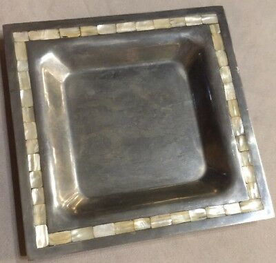 """Towle Silversmiths Mother of Pearl Inlaid 12"""" Square Metal Alloy Bowl"""