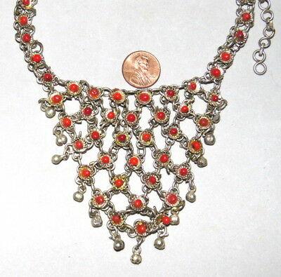 Vintage Central Asia Silver Coral Beads Linked Dangles Necklace Very Nice