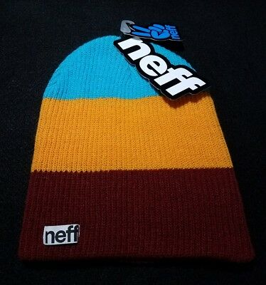 c71d07f8aa3 Neff Unisex Daily Trio Knit Beanie Hat Maroon Orange Teal Scully