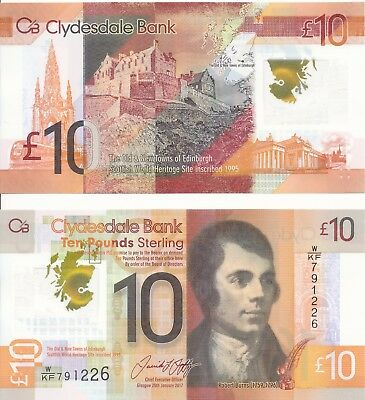 Schottland / Scotland / Clydesdale Bank - 10 Pounds 2017 UNC - Pick New, Polymer