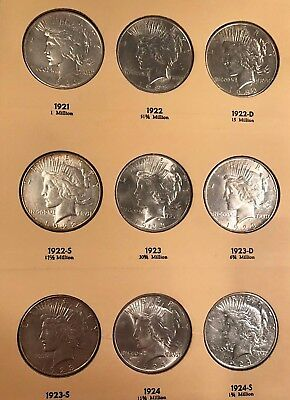 Fabulous Complete 1921-1935 Peace Dollar Set, Bright White, Very High Grade