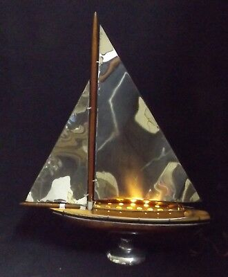 1940's/50's Art Deco  Chrome Metal Wood Yacht Lamp Lights Up Electrical Gd Cond.