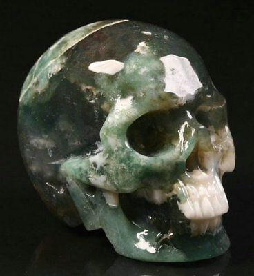 """2.1""""Green Moss Agate Carved Crystal Skull, Realistic, Crystal Healing"""