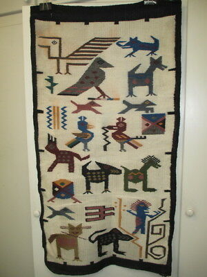 Vintage Mexcian Central American Indian Peru Textile Weaving Rug Wall Hanging