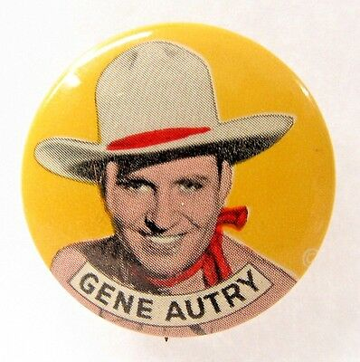 1940's cowboy GENE AUTRY Portrait on yellow pinback button TV movies Western *