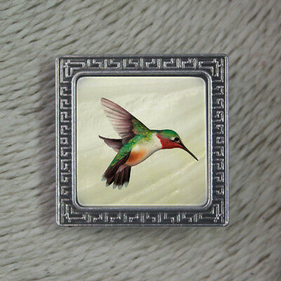 Color Printed Hummingbird Alloy Pin Brooch Mother of Pearl Shell K1705 0076