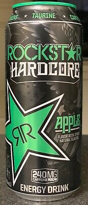 New Sealed Rockstar Hardcore Apple Energy Drink 16-Ounce Cans