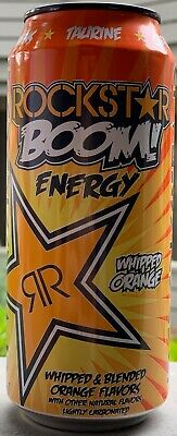 New Sealed Rockstar Boom Energy Drink Whipped Orange 16-Ounce Cans