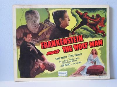 FRANKENSTEIN MEETS THE WOLFMAN Realart rr Lobby Card TITLE CARD CHANEY JR LUGOSI