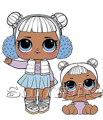 Iron on Transfer LOL SURPRISE DOLL  dolls SNOW ANGEL LIL SISTER 14x14cm