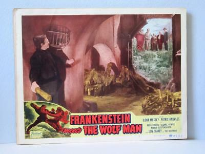 FRANKENSTEIN MEETS THE WOLFMAN Realart rr Lobby Card LUGOSI MONSTER & VILLAGERS
