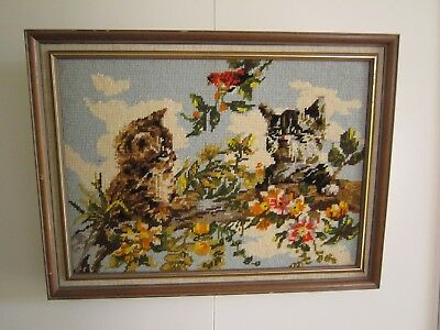 Vintage 80's Framed Playful Cute Kitty Cat Tapestry Needlepoint.