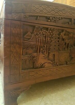 Asian chest trunk glory box large stunning wood carvings. One of a kind.