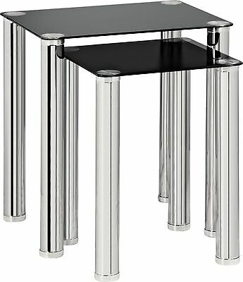 HOME Matrix Nest of 2 Tables - Black Glass.