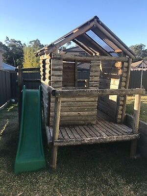 Fort style wooden cubby house