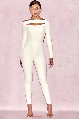 House Of Cb Apsara White Slash Front Jumpsuit Small