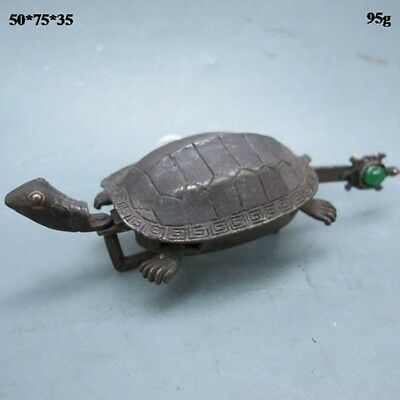 Rare Chinese Old Style Brass Carved Turtle Shape Lock and Key