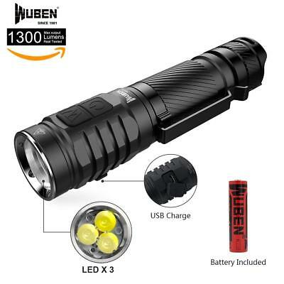 Flashlight by Wuben USA Lens 1300 Lumens, 3* CREE, USB Rechargeable