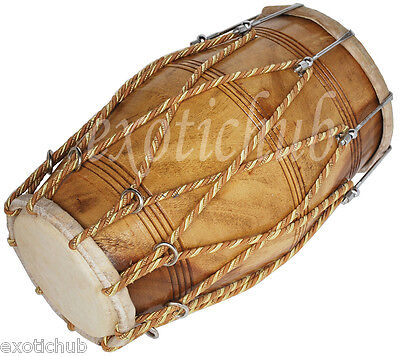 Dholak Drum~Bolt & Rope Tuned~Natural Wood Polish~Special Skin~Hand Made Indian