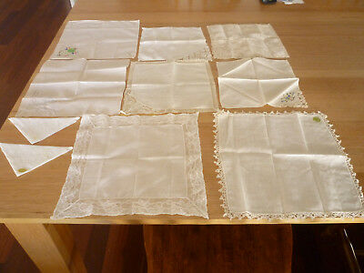 ANTIQUE VINTAGE 1950's 10 x LACE EMBROIDERED HANDKERCHIEF HANKY WEDDING BRIDE