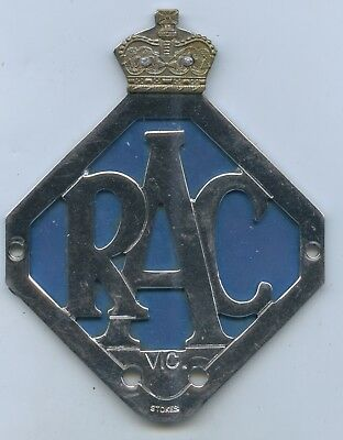 Vint Royal Auto Club Car Badge Victoria Made By Stokes Of Melbourne Gd Cond H47