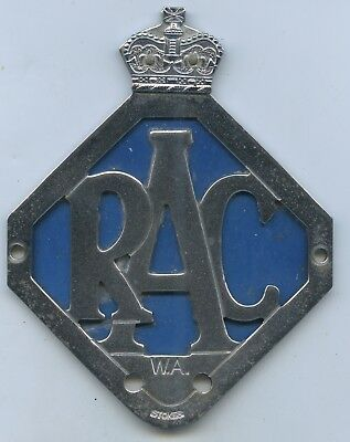 Vint Royal Auto Club Car Badge W.a. Made By Stokes Of Melbourne Gd Cond H46