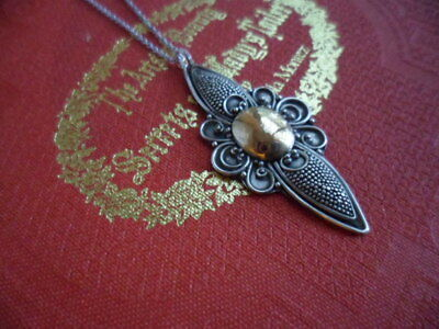 ANTIQUE VINTAGE STERLING SILVER and GOLD PENDANT with 925 CHAIN NECKLACE 40 cm