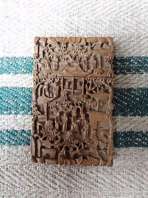 A Stunning Carved Chinese Sandalwood Card Case