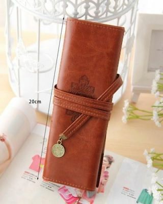 Twilight New Moon Leather Make Up Cosmetic Pen Pencil Case Pouch Purse Bag Brown
