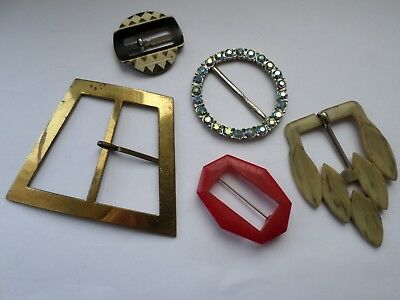 5 assorted vintage belt buckles inc brass rhinestone and plastic