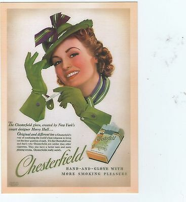 Vintage Advertisement Chesterfield Cigarettes Postcard Repro