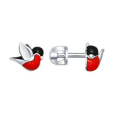 New Sokolov Enamel Bullfinch 925 Silver Stud Earrings