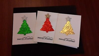 Pack of 10 Handmade  Australian Embossed  Foil Christmas Tree Gift  Cards
