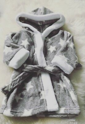 Baby Boy or Girl Dressing Gown -  Grey Stars