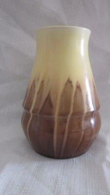 Vintage Newtone Australian Pottery Sydney Glazed Drip Yellow Brown Vase Art Deco