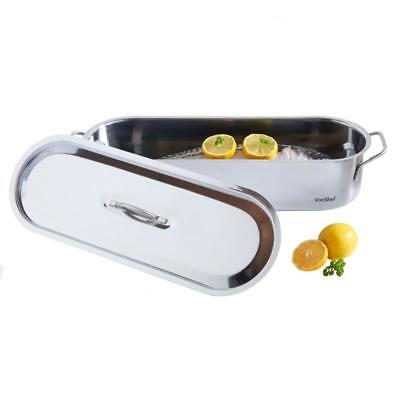 FISH POACHER PAN Drainer Plate Lid Induction Hob Stainless Steel Dishwasher Safe