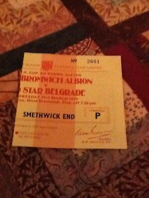 78/79 West Bromwich Albion V Red Star Belgrade Uefa Cup Ticket