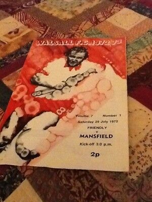 72/73 Walsall V Mansfield Town Friendly