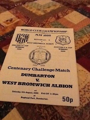 88/89 Dumbarton V West Bromwich Albion  Friendly