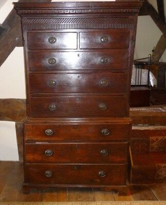 Antique Chest On Chest - Oak 18thC - Good Condiion Commensurate with Age