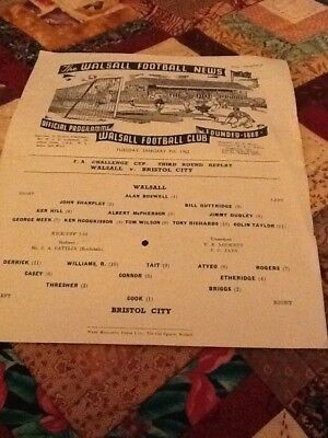 61/62 Walsall V Bristol City Fa Cup Replay