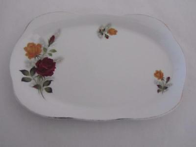 ALFRED MEAKIN Large Sandwich Plate Glo-White Red Yellow Roses