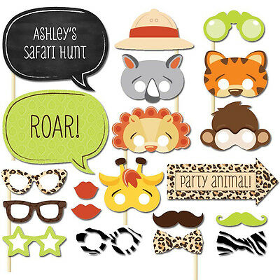 20pcs Photo Booth Props Jungle Zoo Animal Mask Birthday Christmas Party Supplies