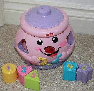 Fisher Price Baby Laugh 'N' Learn Cookie Jar Shape Surprise Sorter Toy - Pink
