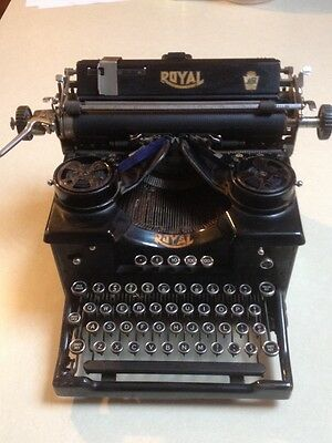 Antique 20s Royal Upright Typewriter w/Beveled Glass Panels (Local Pick Up Only)