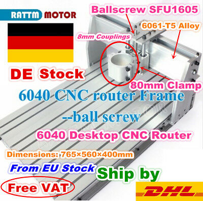 【DE Stock】 DIY 3 Axis 6040 CNC Router Frame Engraving Milling Machine+80mm Clamp