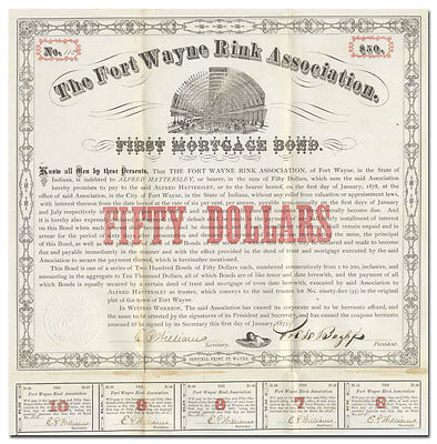 Fort Wayne Rink Association Bond Certificate (1873)