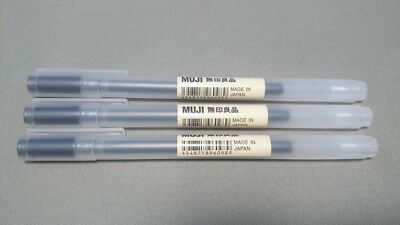 "Muji Gel Ink Ball Point Pen, Black, 0.7mm, Pack of 3 "" Made In Japan"""